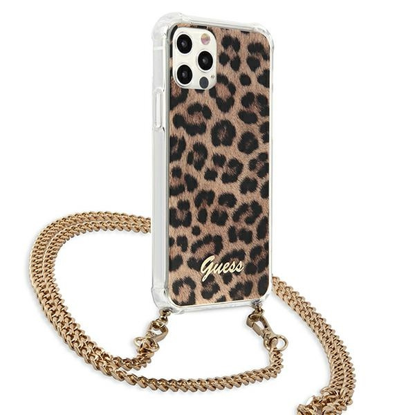 iphone 12 pro max - guess guhcp12lkcleo apple iphone 12 pro max leopard hardcase gold strap - 4 - krytaren.sk