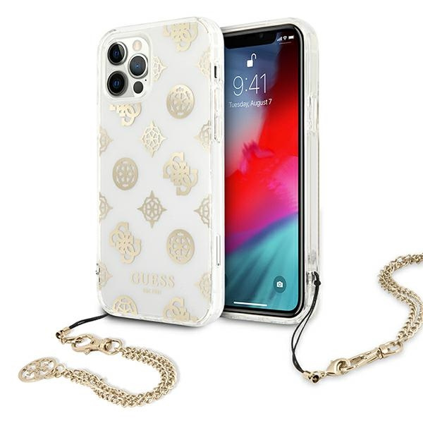 iphone 12 pro max - guess guhcp12lkspego apple iphone 12 pro max gold hardcase peony chain collection - 1 - krytaren.sk