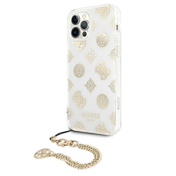 iphone 12 pro max - guess guhcp12lkspego apple iphone 12 pro max gold hardcase peony chain collection - 2 - krytaren.sk