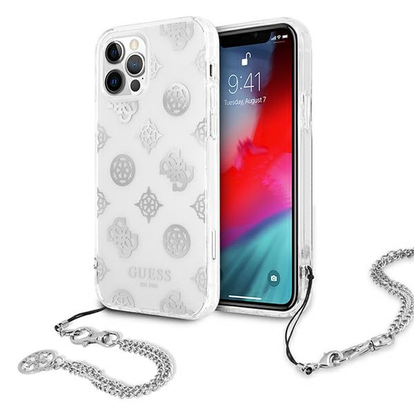 iphone 12 pro max - guess guhcp12lkspesi apple iphone 12 pro max silver hardcase peony chain collection - 1 - krytaren.sk