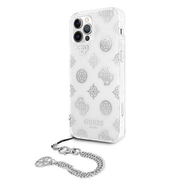 iphone 12 pro max - guess guhcp12lkspesi apple iphone 12 pro max silver hardcase peony chain collection - 2 - krytaren.sk