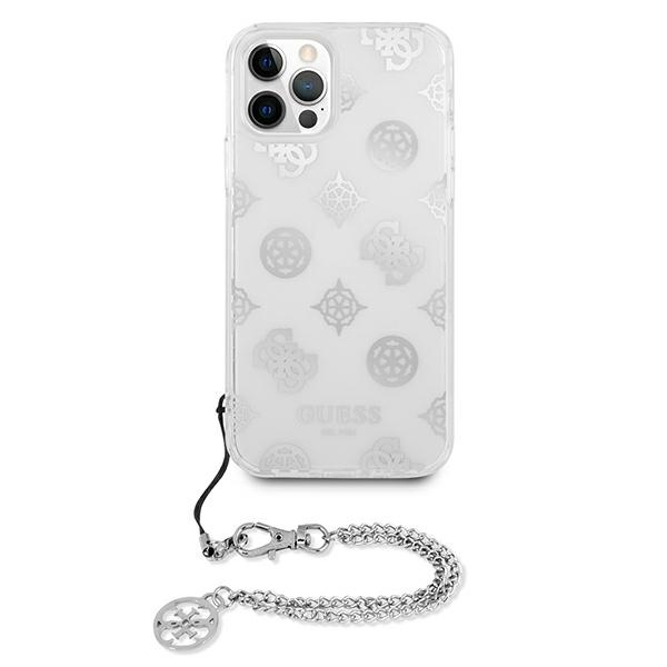 iphone 12 pro max - guess guhcp12lkspesi apple iphone 12 pro max silver hardcase peony chain collection - 3 - krytaren.sk