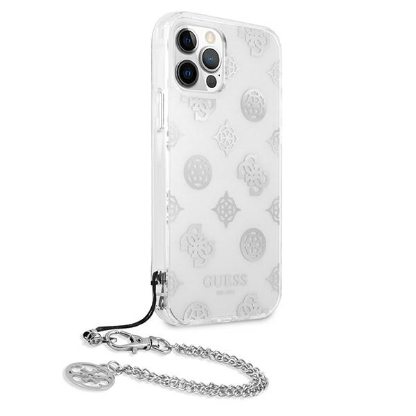 iphone 12 pro max - guess guhcp12lkspesi apple iphone 12 pro max silver hardcase peony chain collection - 4 - krytaren.sk