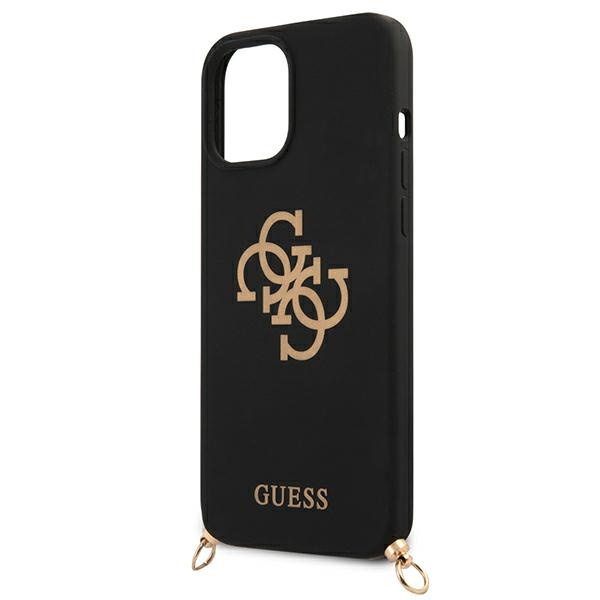 iphone 12 pro max - guess guhcp12llsc4gbk apple iphone 12 pro max black hardcase 4g gold chain collection - 6 - krytaren.sk