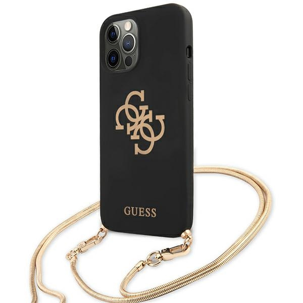 iphone 12 pro - guess guhcp12mlsc4gbk apple iphone 12/12 pro black hardcase 4g gold chain collection - 2 - krytaren.sk