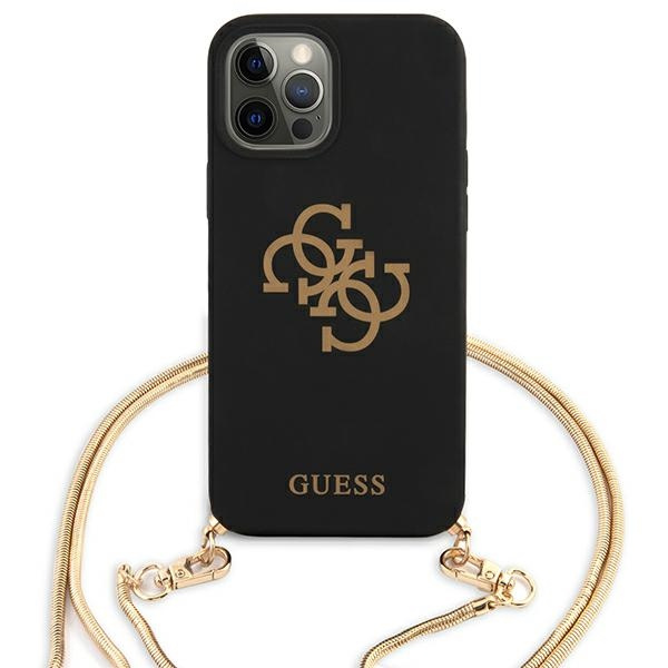 iphone 12 pro - guess guhcp12mlsc4gbk apple iphone 12/12 pro black hardcase 4g gold chain collection - 3 - krytaren.sk