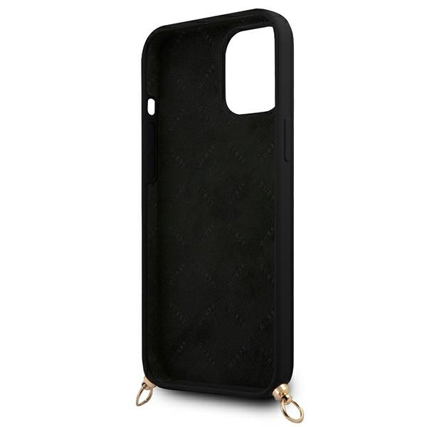 iphone 12 pro - guess guhcp12mlsc4gbk apple iphone 12/12 pro black hardcase 4g gold chain collection - 7 - krytaren.sk