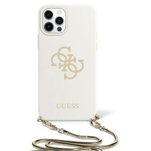 iphone 12 pro - guess guhcp12mlsc4gwh apple iphone 12/12 pro white hardcase 4g gold chain collection - 1 - krytaren.sk