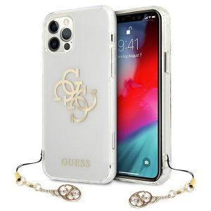 iPhone 12 Pro - Guess GUHCP12MKS4GGO Apple iPhone 12/12 Pro Transparent hardcase 4G Gold Charms Collection - 1 - krytaren.sk
