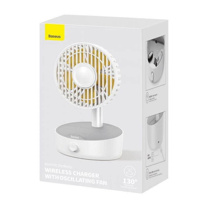 heaters & air conditioners - baseus hermit desktop wireless charger 10w with oscillating fan (white) - 5 - krytaren.sk