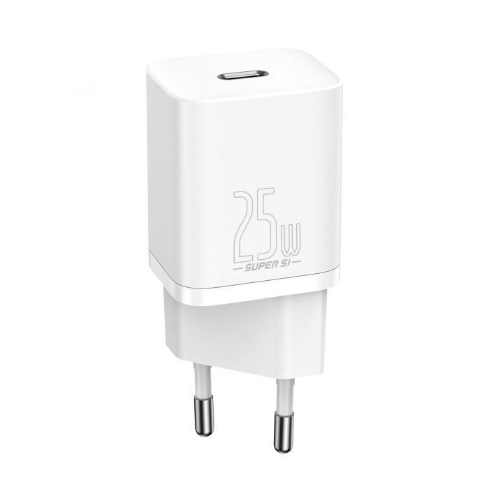 wall chargers - baseus super si quick charger 1c 25w with usb-c cable for usb-c 1m (white) - 2 - krytaren.sk