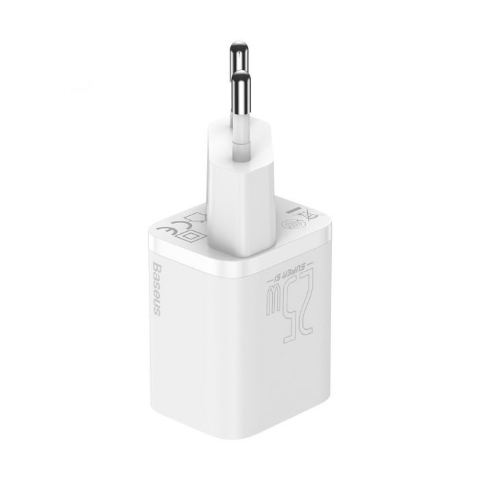wall chargers - baseus super si quick charger 1c 25w with usb-c cable for usb-c 1m (white) - 4 - krytaren.sk