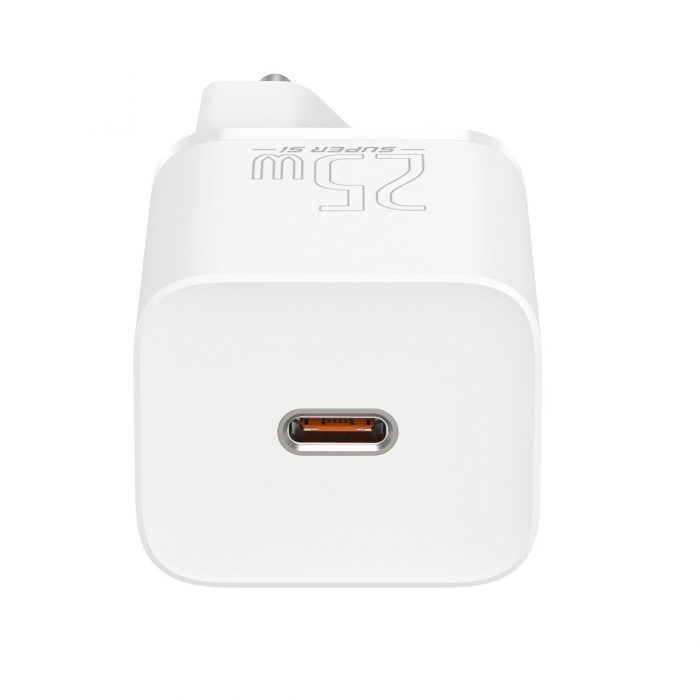 wall chargers - baseus super si quick charger 1c 25w with usb-c cable for usb-c 1m (white) - 5 - krytaren.sk