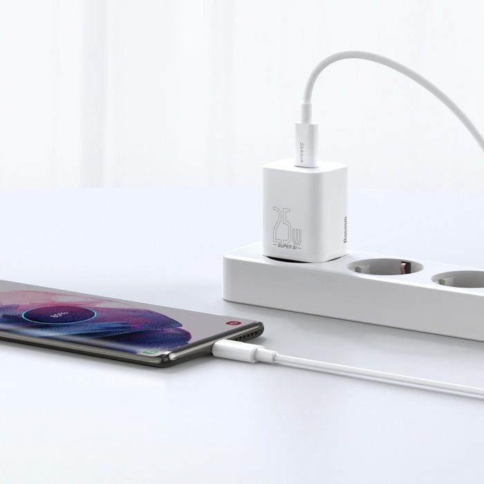 wall chargers - baseus super si quick charger 1c 25w with usb-c cable for usb-c 1m (white) - 9 - krytaren.sk