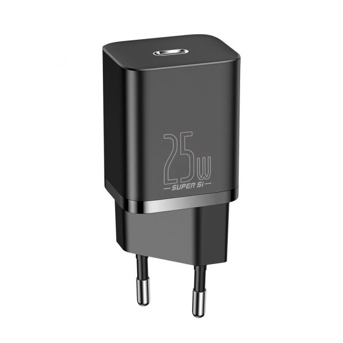 wall chargers - baseus super si quick charger 1c 25w with usb-c cable for usb-c 1m (black) - 5 - krytaren.sk