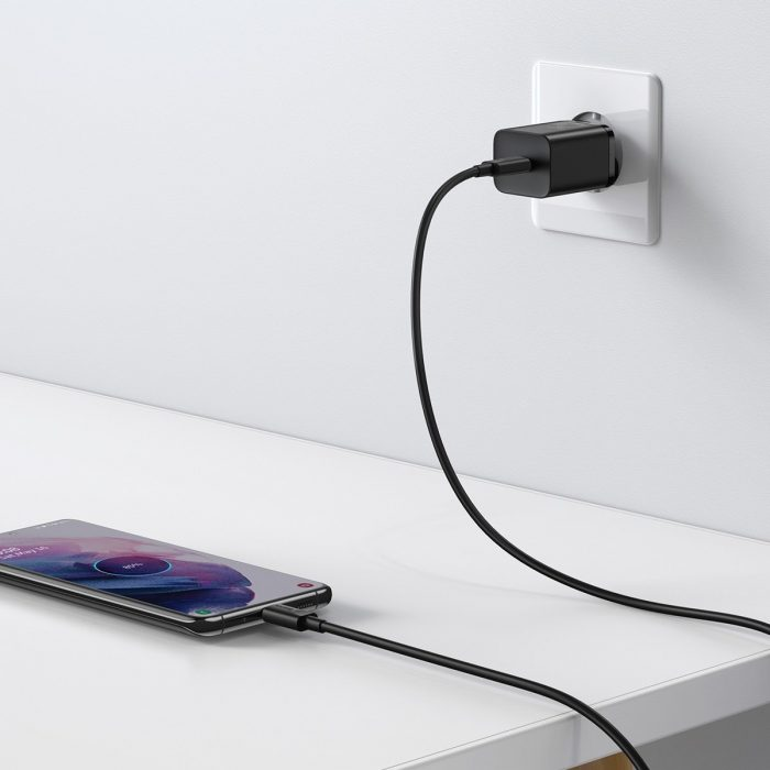 wall chargers - baseus super si quick charger 1c 25w with usb-c cable for usb-c 1m (black) - 8 - krytaren.sk