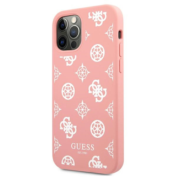 iphone 12 pro - guess guhcp12mlspewpi apple iphone 12/12 pro pink hard case peony collection - 2 - krytaren.sk