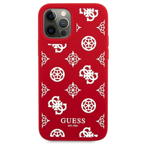 iphone 12 pro - guess guhcp12mlspewre apple iphone 12/12 pro red hard case peony collection - 3 - krytaren.sk
