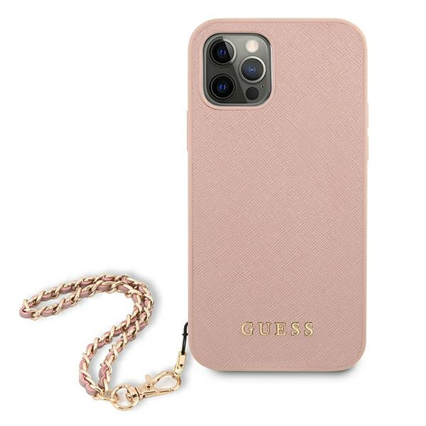 iphone 12 pro - guess guhcp12msasgpi apple iphone 12/12 pro pink hardcase saffiano chain - 3 - krytaren.sk