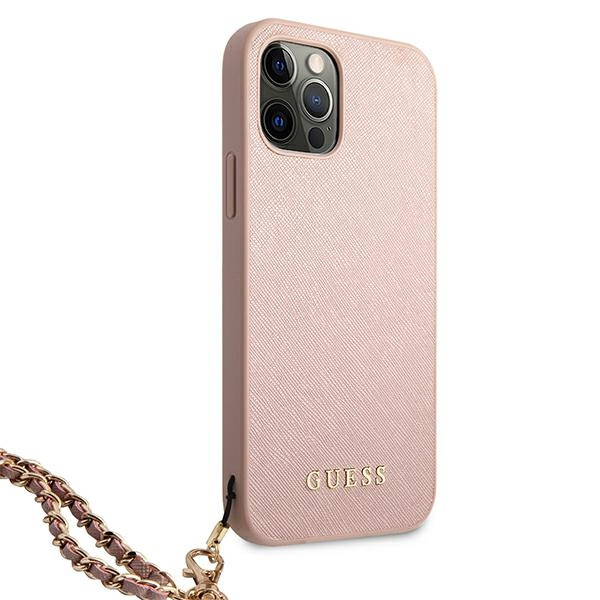 iphone 12 pro - guess guhcp12msasgpi apple iphone 12/12 pro pink hardcase saffiano chain - 4 - krytaren.sk