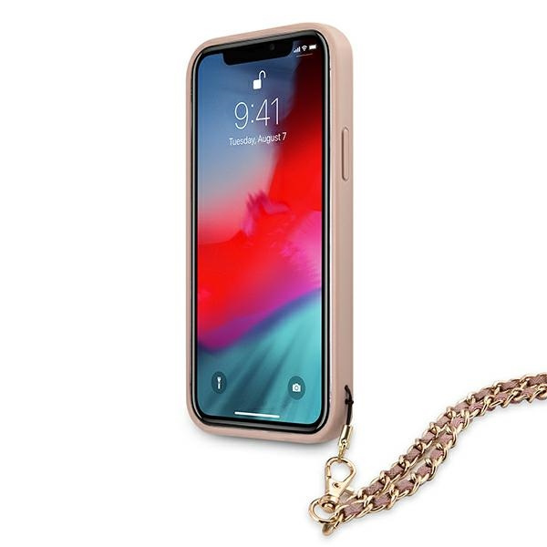 iphone 12 pro - guess guhcp12msasgpi apple iphone 12/12 pro pink hardcase saffiano chain - 5 - krytaren.sk