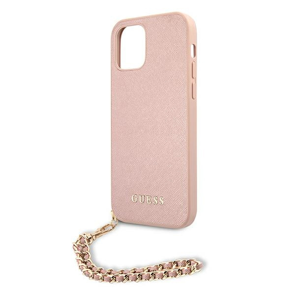iphone 12 pro - guess guhcp12msasgpi apple iphone 12/12 pro pink hardcase saffiano chain - 6 - krytaren.sk