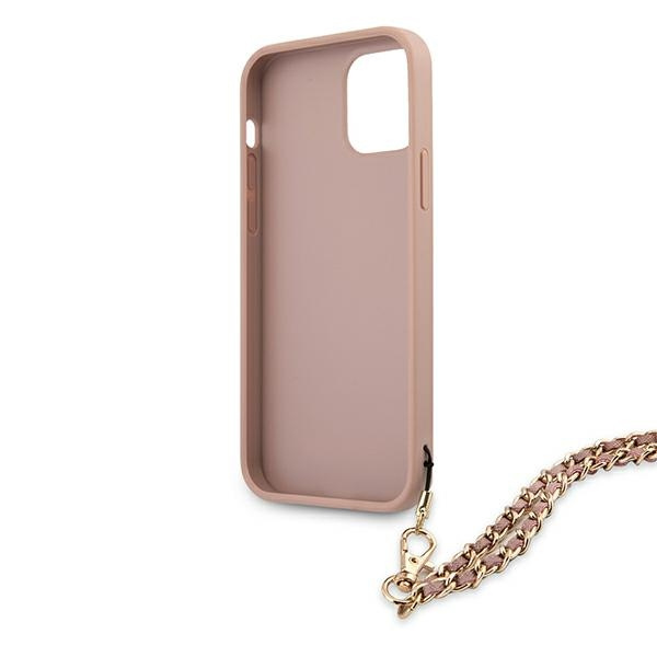 iphone 12 pro - guess guhcp12msasgpi apple iphone 12/12 pro pink hardcase saffiano chain - 7 - krytaren.sk