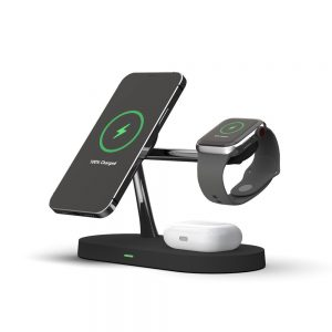 Wireless chargers - Tech-protect A12 3in1 Magnetic Magsafe Wireless Charger Black - 1 - krytaren.sk
