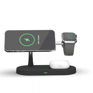 Wireless chargers - Tech-protect A12 3in1 Magnetic Magsafe Wireless Charger Black - 2 - krytaren.sk