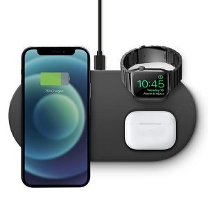 Wireless chargers - UNIQAereo Mag 3in1 Wireless Charger 15W Fast charge charcoal - 2 - krytaren.sk
