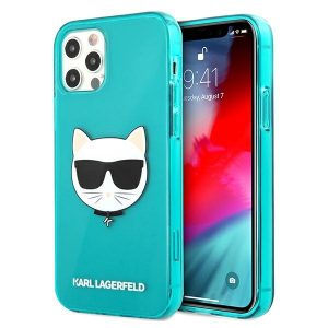 iPhone 12 Pro Max - Karl Lagerfeld KLHCP12LCHTRB Apple iPhone 12 Pro Max blue hardcase Glitter Choupette Fluo - 1 - krytaren.sk