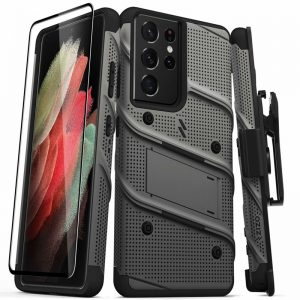S21 Ultra - Zizo Bolt Cover Samsung Galaxy S21 Ultra 5G armored case with 9H glass for the screen + stand & belt clip (Gun Metal Gray) - 1 - krytaren.sk
