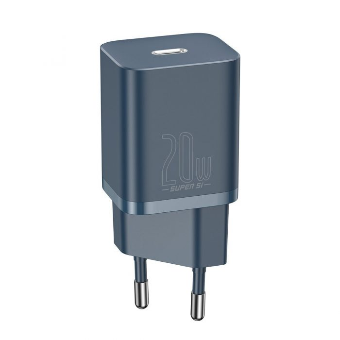 wall chargers - baseus super si quick charger 1c 20w with usb-c cable for lightning 1m (blue) - 2 - krytaren.sk