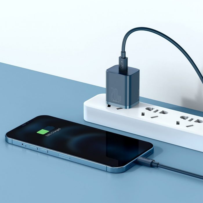 wall chargers - baseus super si quick charger 1c 20w with usb-c cable for lightning 1m (blue) - 8 - krytaren.sk