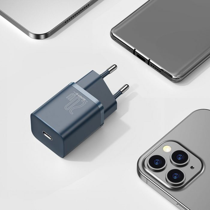 wall chargers - baseus super si quick charger 1c 20w with usb-c cable for lightning 1m (blue) - 9 - krytaren.sk