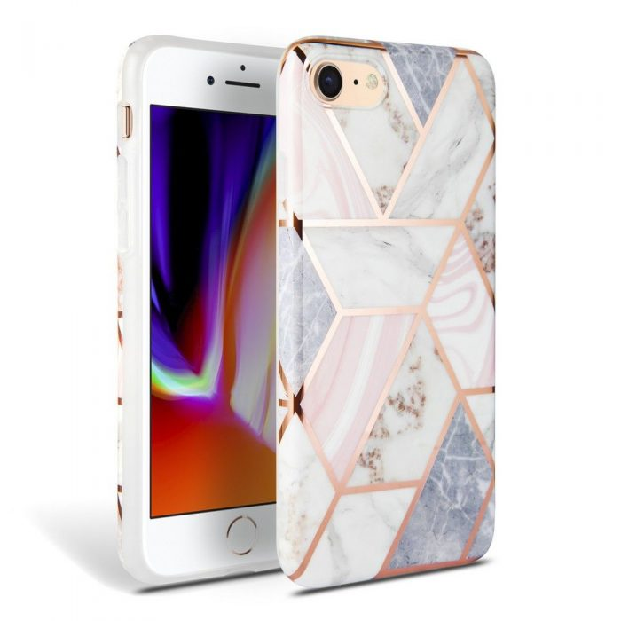 iphone se 2020 - tech-protect marble apple iphone se 2020/8/7 pink - 1 - krytaren.sk