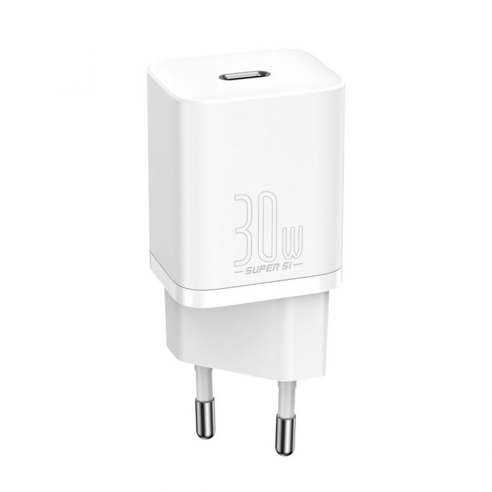wall chargers - baseus super si quick charger 1c 30w (white) - 1 - krytaren.sk