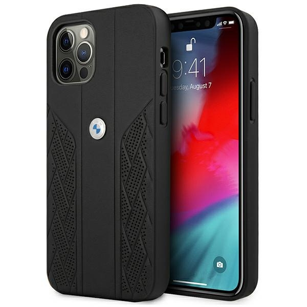 iphone 12 pro max - bmw bmhcp12lrsppk apple iphone 12 pro max black hardcase leather curve perforate - 1 - krytaren.sk