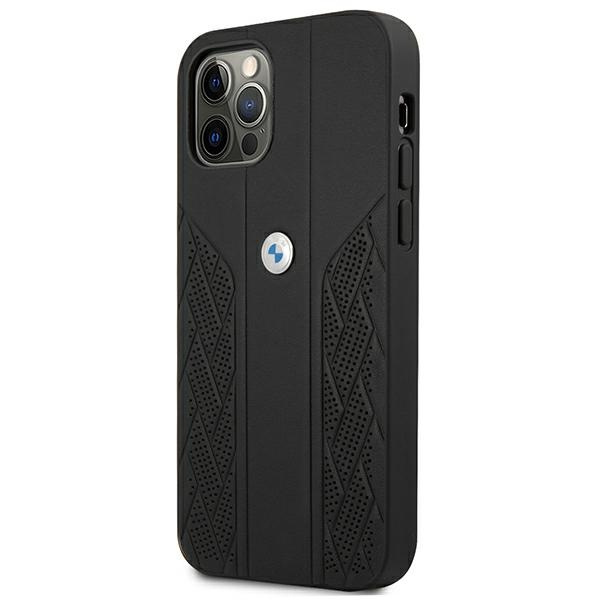 iphone 12 pro max - bmw bmhcp12lrsppk apple iphone 12 pro max black hardcase leather curve perforate - 2 - krytaren.sk