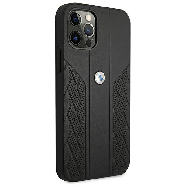 iphone 12 pro max - bmw bmhcp12lrsppk apple iphone 12 pro max black hardcase leather curve perforate - 4 - krytaren.sk