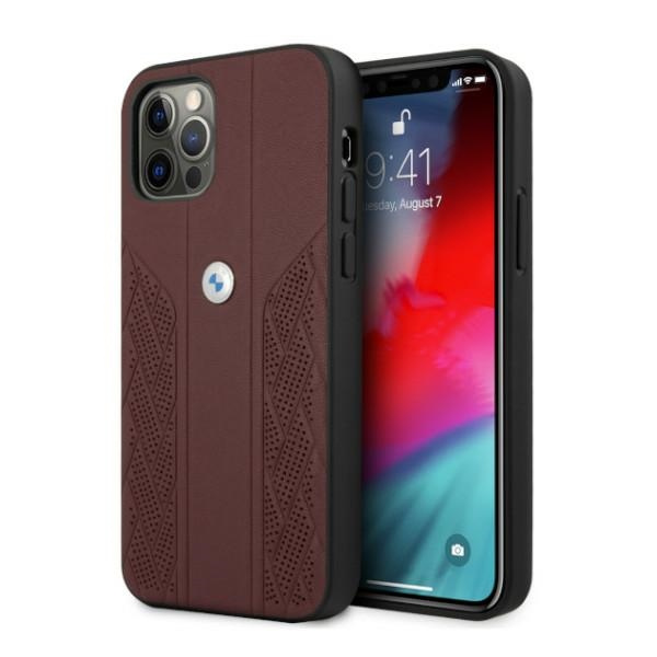 iphone 12 pro max - bmw bmhcp12lrsppr apple iphone 12 pro max red hardcase leather curve perforate - 1 - krytaren.sk