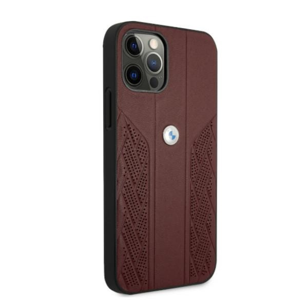 iphone 12 pro max - bmw bmhcp12lrsppr apple iphone 12 pro max red hardcase leather curve perforate - 4 - krytaren.sk