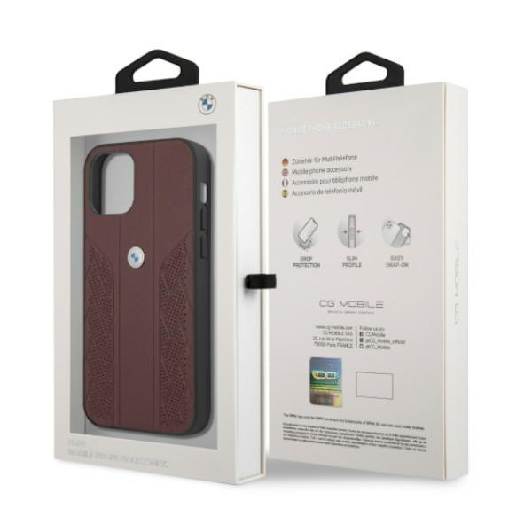 iphone 12 pro max - bmw bmhcp12lrsppr apple iphone 12 pro max red hardcase leather curve perforate - 8 - krytaren.sk