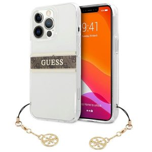 iPhone 13 Pro Max - Guess GUHCP13XKB4GBR Apple iPhone 13 Pro Max Transparent hardcase 4G Brown Strap Charm - 1 - krytaren.sk