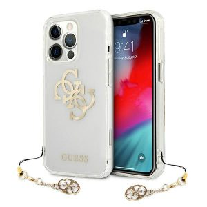 iPhone 13 Pro Max - Guess GUHCP13XKS4GGO Apple iPhone 13 Pro Max Transparent hardcase 4G Gold Charms Collection - 1 - krytaren.sk