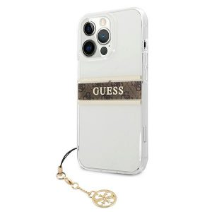 iPhone 13 Pro Max - Guess GUHCP13XKB4GBR Apple iPhone 13 Pro Max Transparent hardcase 4G Brown Strap Charm - 2 - krytaren.sk