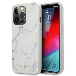 iPhone 13 Pro Max - Guess GUHCP13XPCUMAWH Apple iPhone 13 Pro Max white hardcase Marble - 1 - krytaren.sk