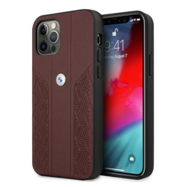 iphone 12 pro - bmw bmhcp12mrsppr apple iphone 12/12 pro red hardcase leather curve perforate - 1 - krytaren.sk