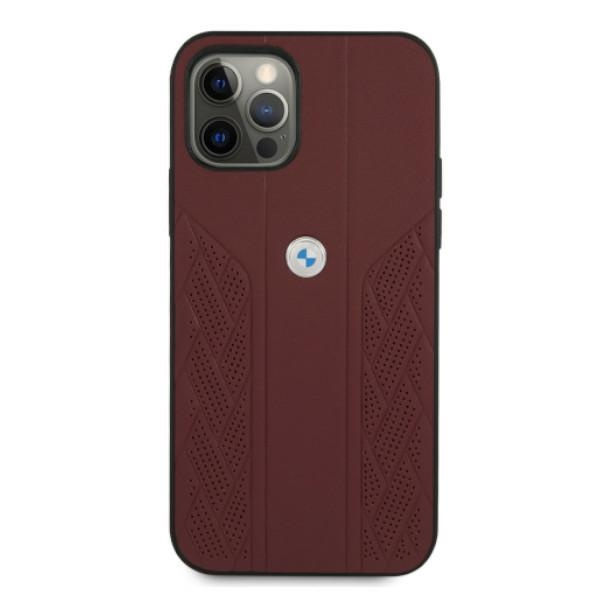 iphone 12 pro - bmw bmhcp12mrsppr apple iphone 12/12 pro red hardcase leather curve perforate - 3 - krytaren.sk