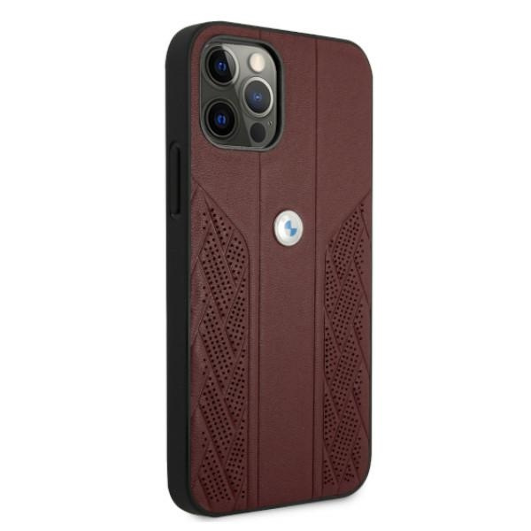 iphone 12 pro - bmw bmhcp12mrsppr apple iphone 12/12 pro red hardcase leather curve perforate - 4 - krytaren.sk